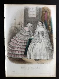 Journal des Demoiselles C1850 Antique Hand Col Fashion Print 31 Wedding Dress